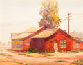 Mainstream Illustration, Clarence Nelson Aldrich (American, 1893-1953). Red Building.Watercolor on paper. 18.5 x 24 in. (sight). Signed lower le...