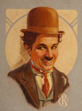 Mainstream Illustration, American Artist (20th Century). Charlie Chaplin. Oil oncanvas. 16 x 12 in.. Initialed lower right. ...