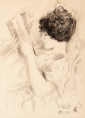 Mainstream Illustration, After Harrison Fisher (American, 1875-1934). BeautifulReader. Pencil and ink wash on board. 15.75 x 11.25 in.(sight). ...