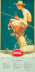 Mainstream Illustration, After Norman Rockwell (American, 1894-1978). Gone Fishing,Coca-Cola advertisement calendar, 1935. Lithograph in colors...