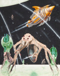 Mainstream Illustration, Terry Oakes (Welsh, 20th Century). Chikstha Varieties, Tour ofthe Universe, interior book illustration, 1980. Gouache o...