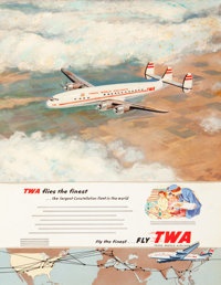 American Artist (20th Century) Trans World Airlines advertisement Mixed media on board with collage<