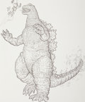 Mainstream Illustration, Geof Darrow (American, b. 1955). Big Big Boy vs. Godzilla.Ink on paper. 21.5 x 17.5 in. (sight). Signed lower center. ...