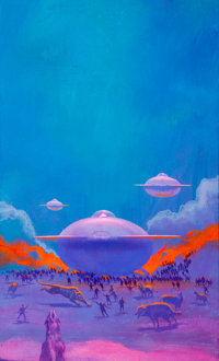 Paul Lehr (American, 1930-1998) The Laughter at Night Acrylic on board 19 x 11.25 in. (sight)