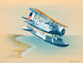Mainstream Illustration, Ted Grohs (American, 2006-1913). Curtis SOC-1 Observation NavySeaplane, 1940. Watercolor and gouache on board. 10.25 x ...