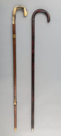 Decorative Arts, Continental, An English Mahogany Suit Tailor's Walking Stick and a Coat HangerWalking Stick, late 19th century. 35-1/2 inches high (90.2...(Total: 2 Items)