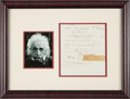Autographs:Inventors, Albert Einstein Mathematical Formulas Related to his Unified FieldTheory with Signed Poem on Verso....