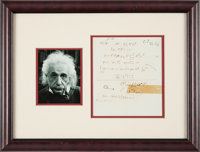 Albert Einstein Mathematical Formulas Related to his Unified Field Theory with Signed Poem on Verso