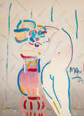 Fine Art - Work on Paper, Peter Max (American, b. 1937). Nude with Vase, 1983. Acrylicon lithograph. 40 x 29 inches (101.6 x 73.7 cm) (sight). Si...