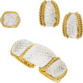 Estate Jewelry:Suites, Rock Crystal Quartz, Diamond, Gold Jewelry Suite, Sabbadini. ...(Total: 3 Items)