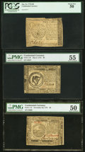 Colonial Notes:Continental Congress Issues, Continental Currency Trio.. ... (Total: 3 notes)