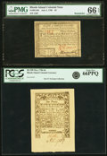 Colonial Notes:Rhode Island, Rhode Island July 2, 1780 $3 PMG Gem Uncirculated 66 EPQ and RhodeIsland 290 May 1786 6d PCGS Gem New 66PPQ.. ... (Total: 2 notes)
