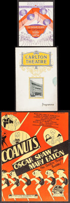 "The Cocoanuts (Paramount, 1929). U.S. Herald (Folded: 4.5"" X 6"" Unfolded: 9"" X 6""), British Program..."