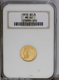 1910 $2 1/2 MS62 NGC. Generally well struck, except for parts of the headdress, with pleasing peach-gold patina. A few m...