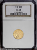 1910 $2 1/2 MS63 NGC. A frosty yellow-gold example, with unmarked surfaces that show a faint planchet streak (as struck)...