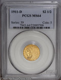 Indian Quarter Eagles: , 1911-D $2 1/2 MS64 PCGS. The '11-D is the key-date to the Indian Quarter Eagle series, and is elusive in all grades. Choice...