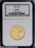 Liberty Eagles: , 1843 $10 AU50 NGC. A nicely detailed and typically abraded piecewith subdued orange-gold color. Very scarce in all grades ...
