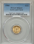 Commemorative Gold, 1904 G$1 Lewis and Clark Gold Dollar MS64+ PCGS....