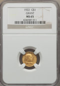 Commemorative Gold, 1922 G$1 Grant Gold Dollar, No Star, MS65 NGC....