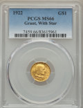 Commemorative Gold, 1922 G$1 Grant Gold Dollar, With Star, MS66 PCGS....