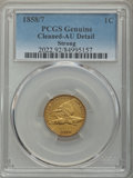 1858/7 1C -- Cleaning -- Strong. PCGS Genuine. AU Details. NGC Census: (9/113). PCGS Population: (5/99). CDN: $1,000 Whs...
