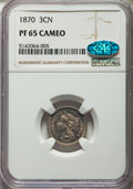 Proof Three Cent Nickels: , 1870 3CN PR65 Cameo NGC. CAC. NGC Census: (42/25). PCGS Population: (39/17). CDN: $550 Whsle. Bid for problem-free NGC/PCGS...