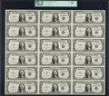Small Size:Silver Certificates, Fr. 1614 $1 1935E Silver Certificates. Uncut Sheet of 18. PCGS Choice About New 58.. ...