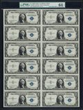 Small Size:Silver Certificates, Fr. 1608 $1 1935A Silver Certificates. Uncut Sheet of Twelve. PMG Choice Uncirculated 64 EPQ.. ...