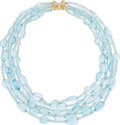 Estate Jewelry:Necklaces, Aquamarine, Blue Topaz, Diamond, Gold Necklace, Frank Ancona. ...