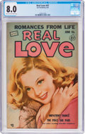 Golden Age (1938-1955):Romance, Real Love #47 (Ace Periodicals, 1952) CGC VF 8.0 Light tan tooff-white pages....