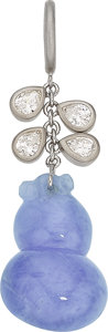 Estate Jewelry:Pendants and Lockets, Lavender Jadeite Jade, Diamond, White Gold Pendant . ...