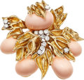Estate Jewelry:Brooches - Pins, Diamond, Coral, Gold Brooch. ...