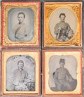 General Americana: , Four American Civil War Sixth Plate Daguerreotypes and AmbrotypesDepicting Four Confederate Soldiers, circa 1860. 3-3/4 inc...(Total: 4 Items)