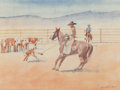 Works on Paper, Leonard Howard Reedy (American, 1899-1956). The Roped Calf. Watercolor on paper. 8-1/4 x 11-1/4 inches (21.0 x 28.6 cm) ...