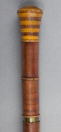Decorative Arts, Continental, A Stained Wood Gaming Cane, circa 1900. 35 inches high (88.9 cm).