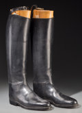 Decorative Arts, British:Other , A Pair of Lobb Black Leather Equestrian Riding Boots with BootTrees. 20-3/4 h x 4-1/4 w x 12 d inches (52.7 x 10.8 x 30.5 c...(Total: 2 Items)
