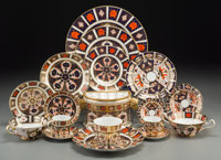 A Two Hundred and Twenty-Piece Royal Crown Derby Old Imari Pattern Porcelain Service, </