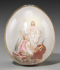 Ceramics & Porcelain, Russian, A Russian Painted and Partial GIlt Porcelain Easter Egg:Christ's Resurrection, early 20th century. 2-3/4 incheshig...