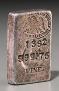 Silver Smalls:Other , A San Francisco United States Mint Silver Ingot. Marks: (Mintlogo), 1382, 999.75 FINE., 5.73 OZS. 2 inches high x1-1/4...