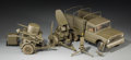 Decorative Arts, Continental:Other , Three Scale Models of Olive Drab Military Machinery and Artillery,late 20th century. 6-1/4 h x 12-3/4 w x 5-1/4 d inches (1...(Total: 5 Items)