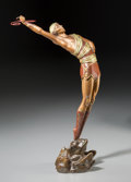 Bronze:Contemporary, An Erté Cold-Painted Bronze Sculpture: Le Danseur, circa1980. Marks: (artist's cipher), RKP INT. CORP., 1980, 200...