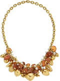 Estate Jewelry:Necklaces, Amber, Cultured Pearl, Gold Necklace, Bvlgari . ...