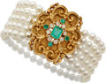 Estate Jewelry:Bracelets, Emerald, Diamond, Cultured Pearl, Gold Bracelet. ...