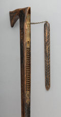 Decorative Arts, Continental, An English Carved Wood Harmonica Walking Stick, late 19th century.35 inches high (88.9 cm).