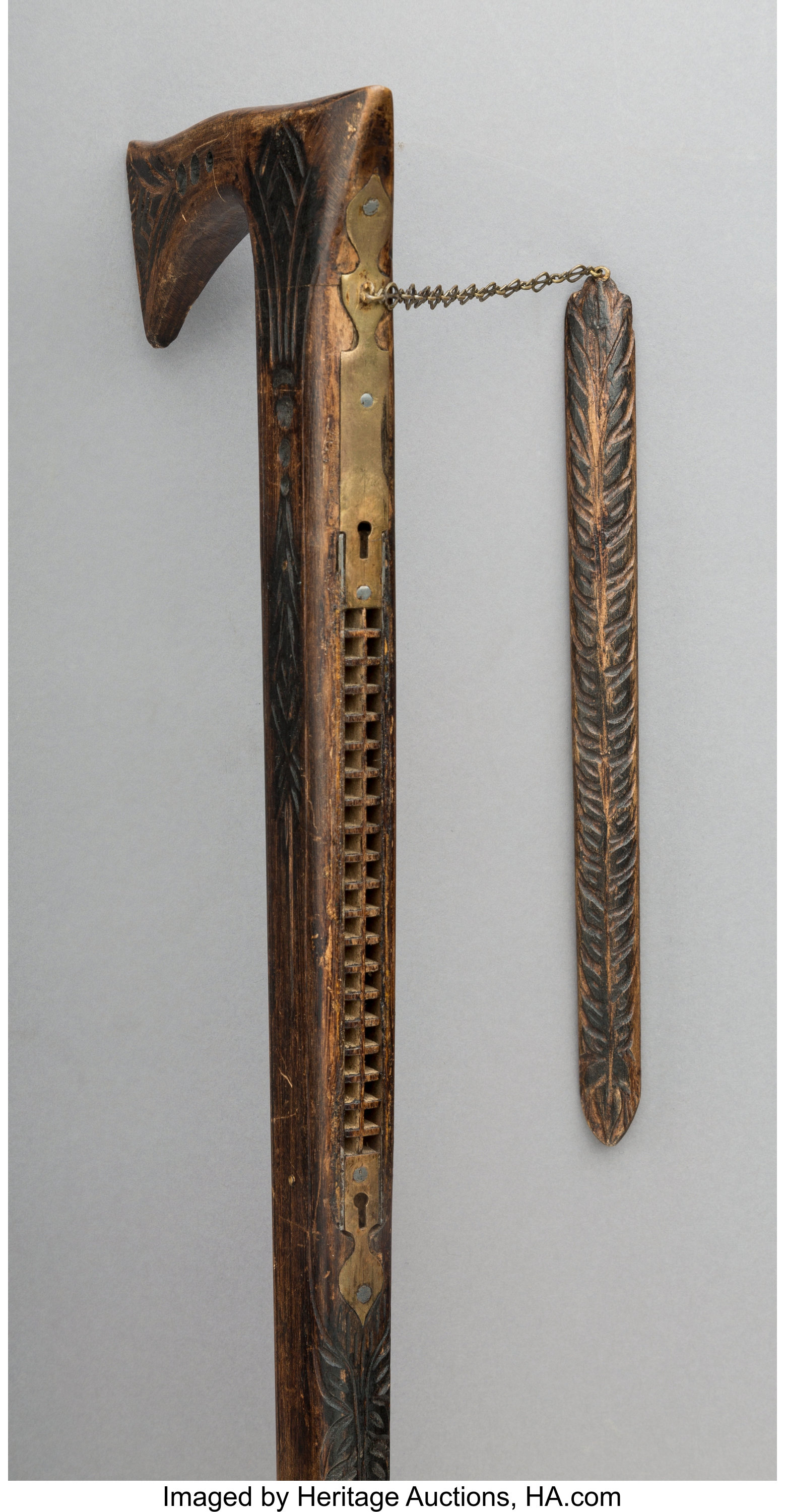 An English Carved Wood Harmonica Walking Stick, late 19th