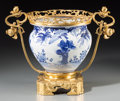 Decorative Arts, Continental:Other , A Gilt Bronze-Mounted Blue and White Porcelain Jardinière. 13-1/8inches high x 17-1/2 inches wide (33.3 x 44.5 cm). ...
