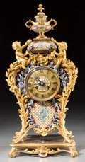 Timepieces:Clocks, A Louis XV-Style Gilt Bronze and Cloisonné Mantel Clock, circa1890. Marks to face: BAILLY, LYON. 20 inches high (50.8 c...(Total: 3 Items)