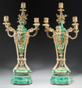 Decorative Arts, French:Other , A Pair of Directoire-Style Gilt Bronze and Malachite Six-LightCandelabra. 24-3/8 inches high x 12 inches wide (61.9 x 30.5 ...(Total: 2 Items)