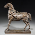 Fine Art - Sculpture, European:Antique (Pre 1900), After Joseph Raymond Paul Gayrard (French, 1807-1855). HarnessHorse. Bronze with brown patina. 13 inches (33.0 cm) high...