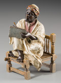 Decorative Arts, Continental:Other , An Austrian Cold-Painted Bronze Figure: The Scribe. Marks:GESCHUTZ, 2746. 4 inches high (10.2 cm). ...